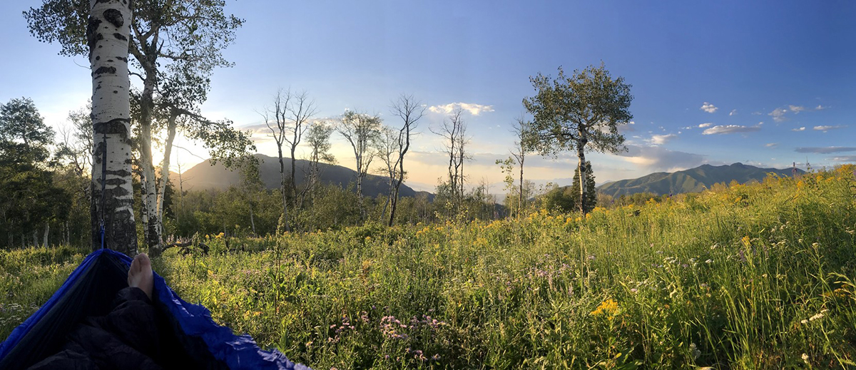 A man lays in a hammock in a meadow with mountain views in the distance.