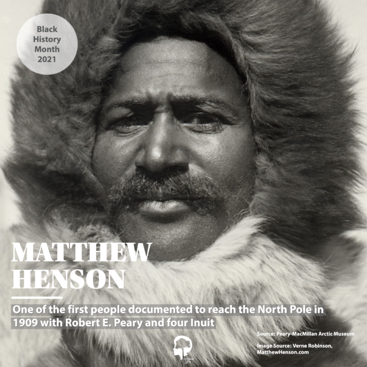 A portrait of Matthew Henson, who discovered the North Pole with Robert E. Peary and four Inuit in 1909.