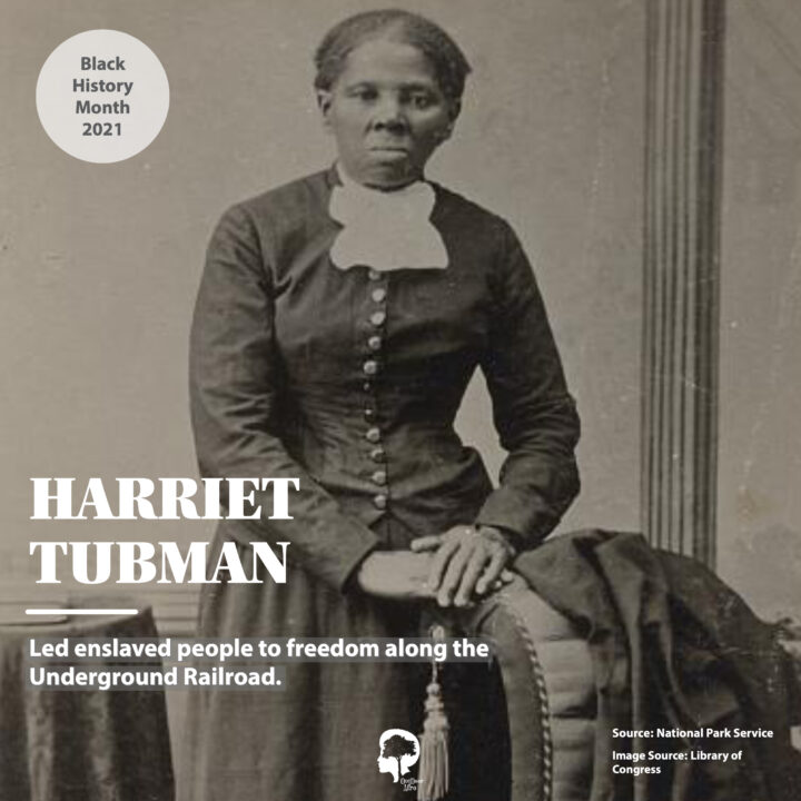 A portrait of Harriet Tubman, who led enslaved people to freedom along the Underground Railroad.
