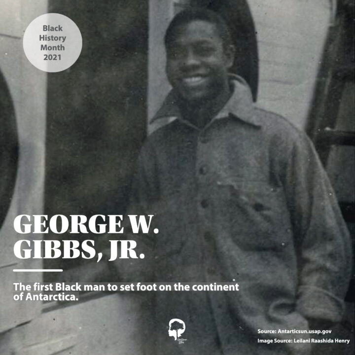 A portrait of George W. Gibbs, Jr. who was the first Black man to set foot on the continent of Antartica.