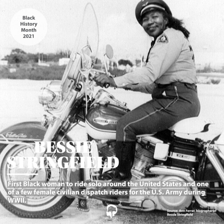 A portrait of Bessie Stringfield riding a motorcycle. She was the first Black woman to ride solo around the United states and one of a few female civilian dispatch riders for the U.S. Army during WWII.